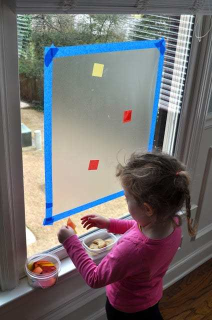 Keeping Toddlers Busy - sticky window project