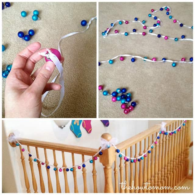 colorful mini ornament garland hung on banister