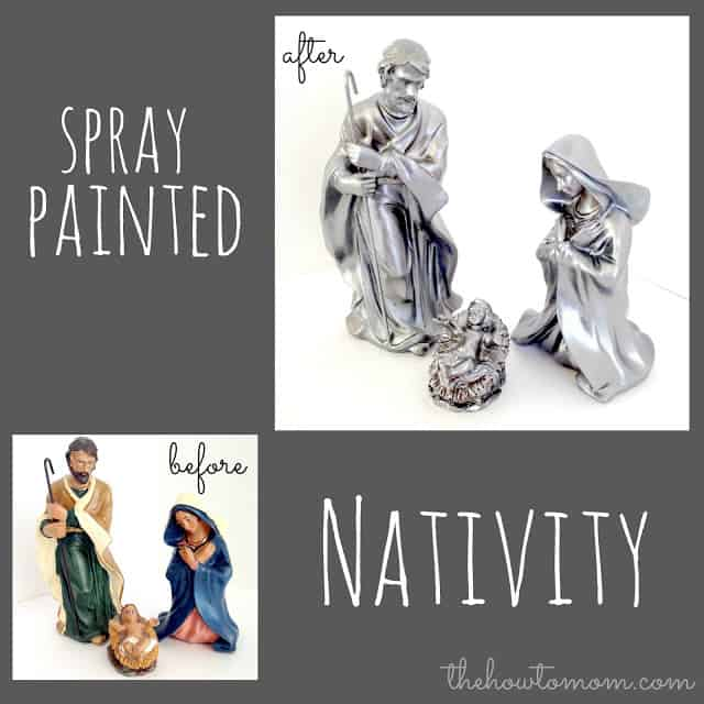 DIY Nativity Set - use spray paint to turn a tacky Nativity into a gorgeous custom Nativity set.