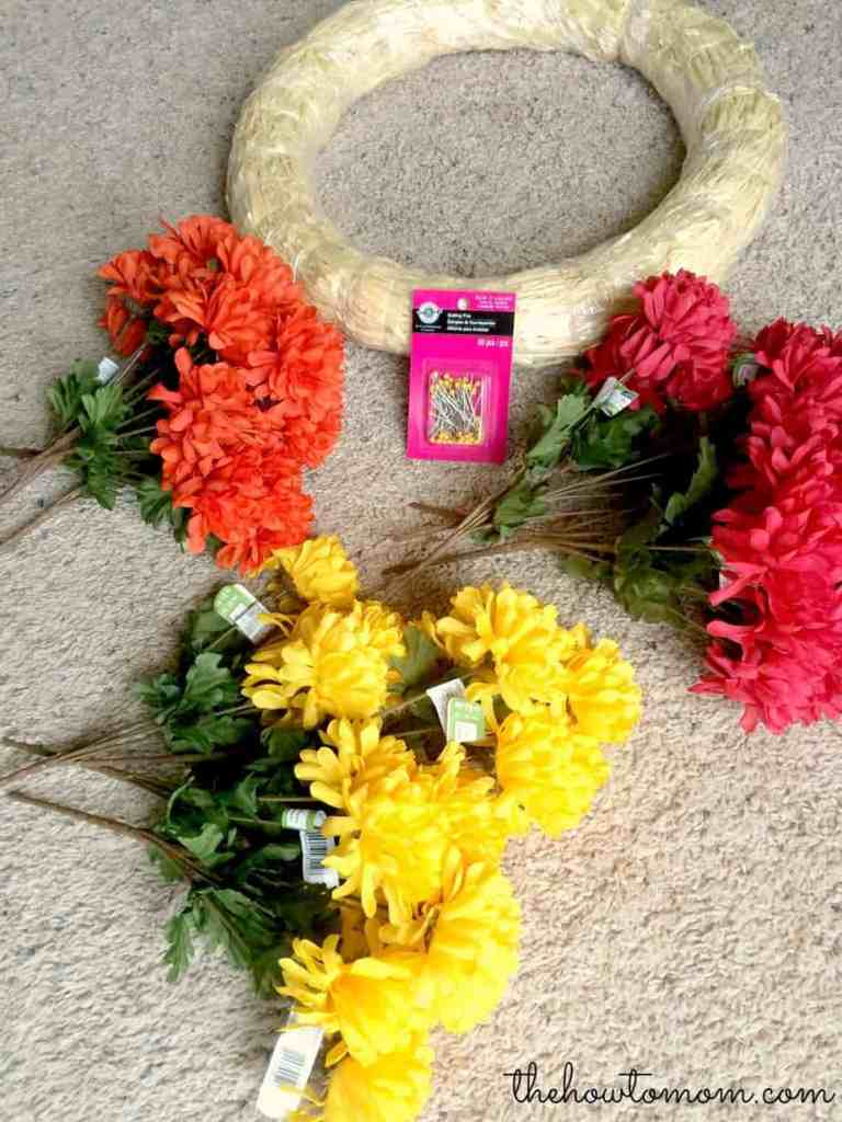 supplies needed for easy fall mum wreath