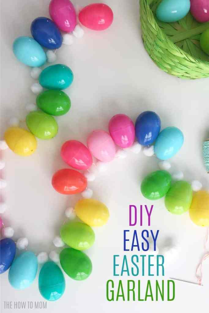DIY Easy Easter Egg Garland - great way to use up plastic eggs!