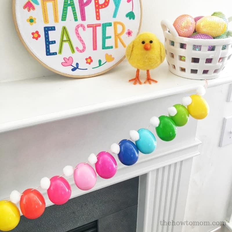 Easter Egg Garland on Mantel