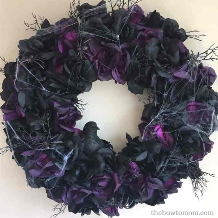 October - Creepy Black Rose Wreath