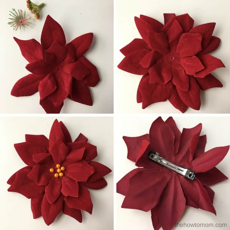 How to Make Poinsettia Hair Clips - Dollar Tree craft
