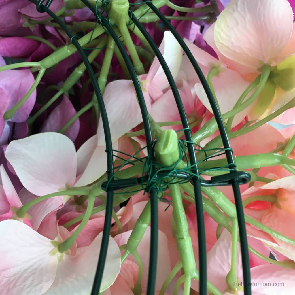 How to Make a Hydrangea Wreath - using a wire wreath form and floral wire