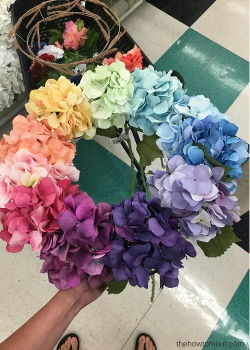 How to Make a Rainbow Hydrangea Wreath - easy!