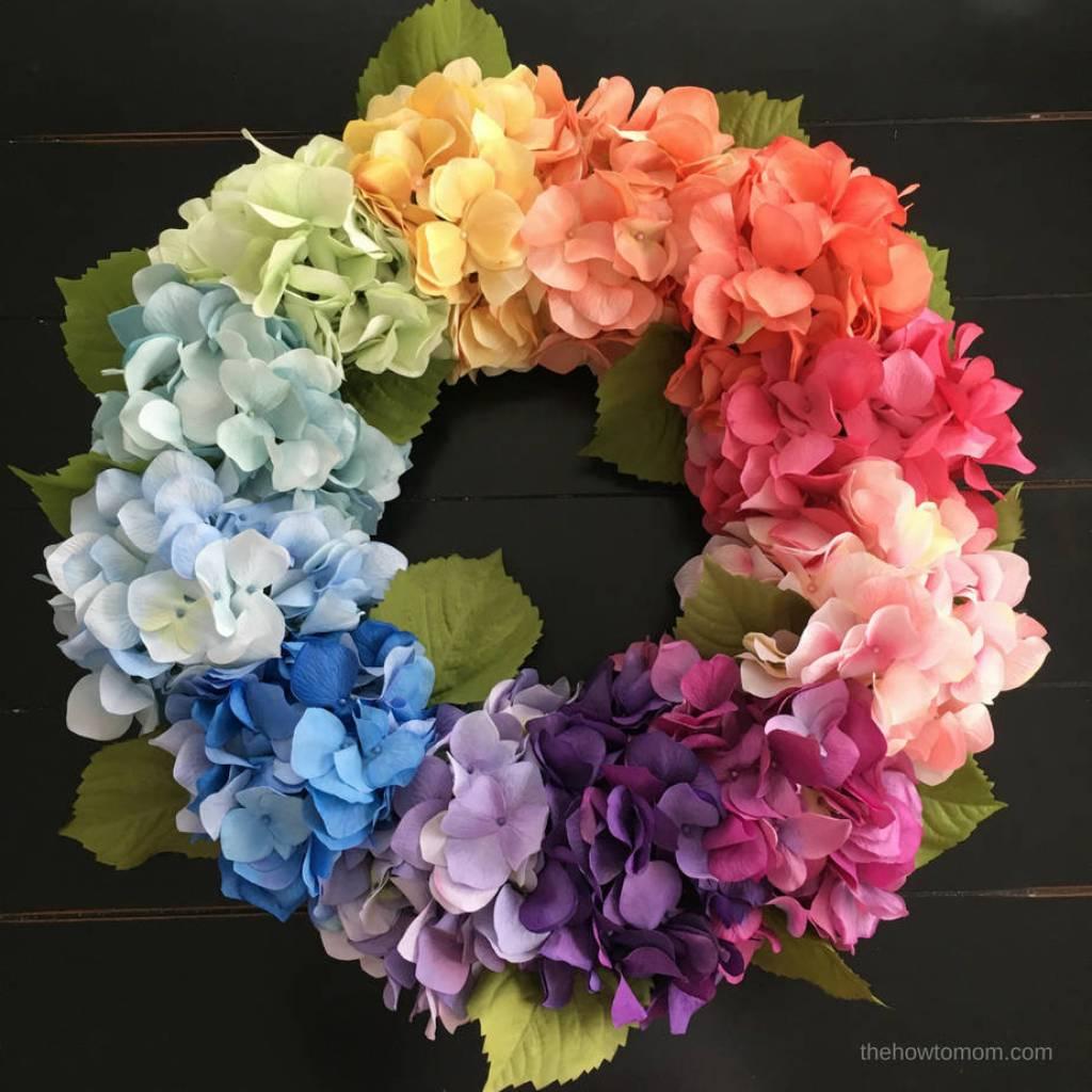 Rainbow Hydrangea Wreath - gorgeous ombre hydrangeas