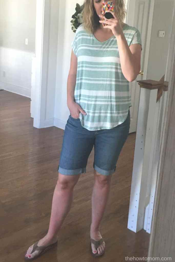 Modest shorts for young moms - Loft outlet Denim Bicycle Shorts