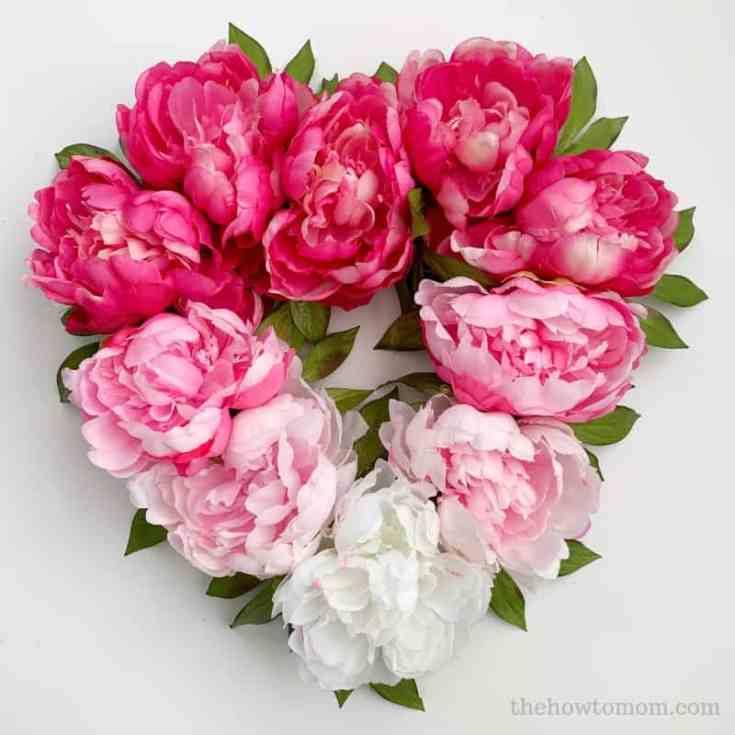 February - Ombre Peony Heart Wreath