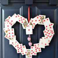 DIY Valentine's Wreath - with old playing cards!
