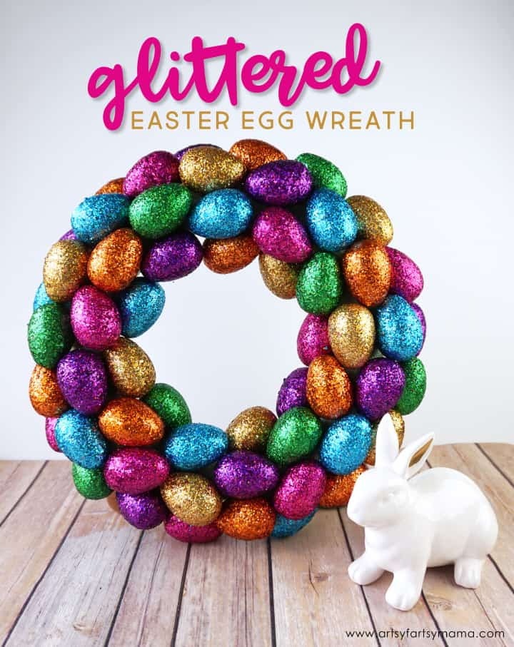 DIY Glittered Easter Egg Wreath