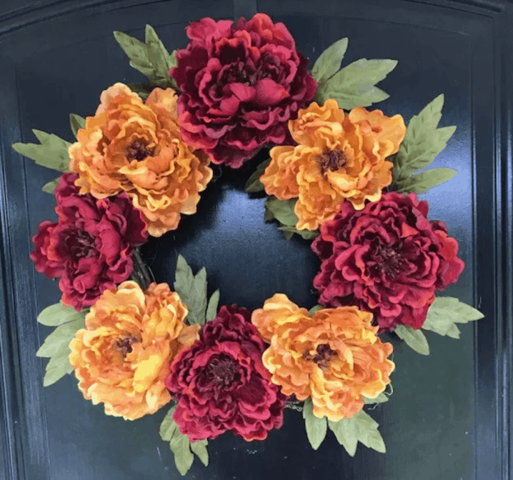 Fall Peony Wreath