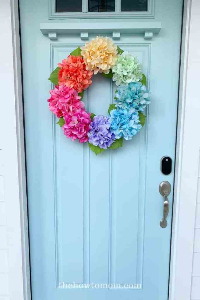 how to hang a wreath on a door with a window
