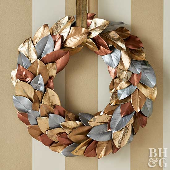 Metallic Magnolia Leaf Wreath