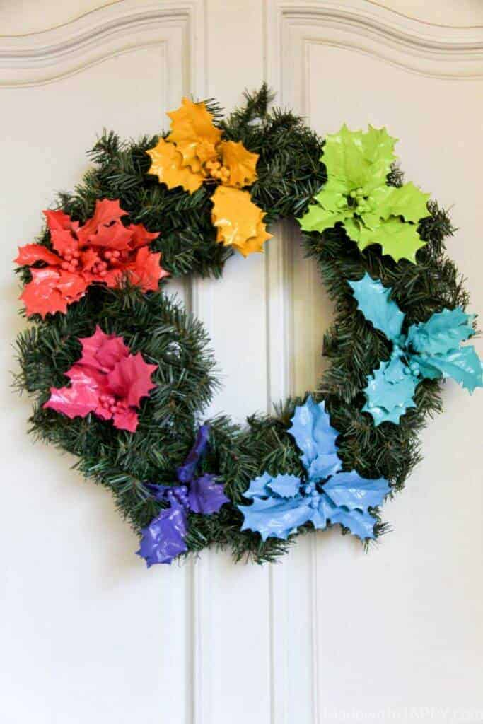 Rainbow Holly Wreath