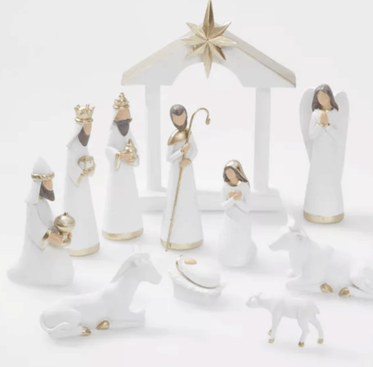 White and gold nativity - 12 pc