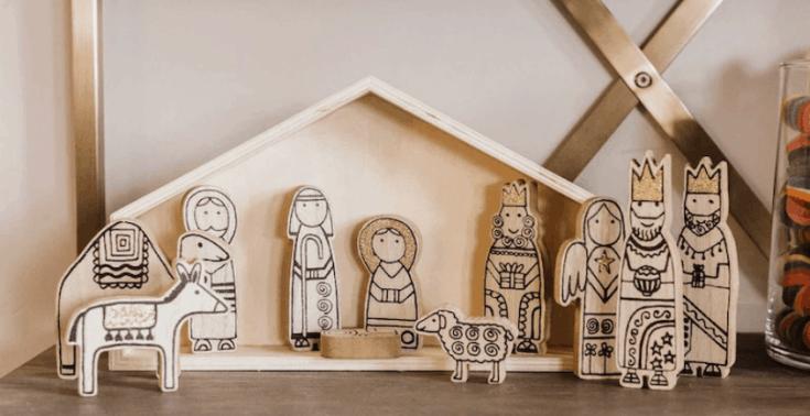 Modern Wooden Nativity Set - 11 pc