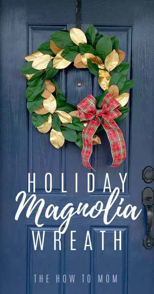 holiday magnolia wreath DIY Pinterest