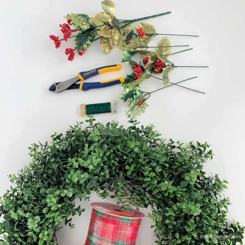 supplies needed for christmas boxwood wreath