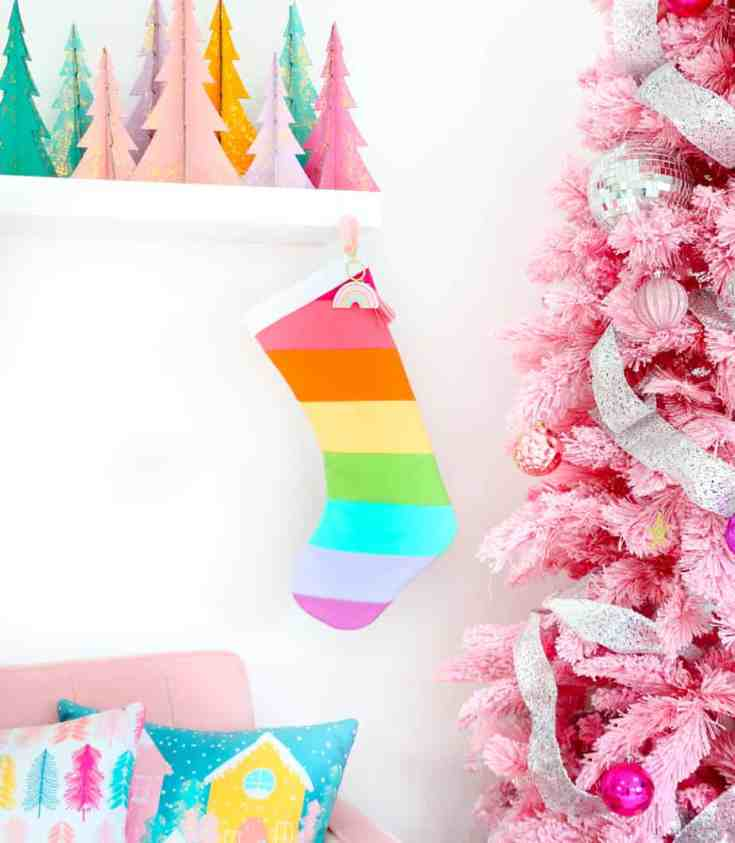 DIY Rainbow Christmas Stockings