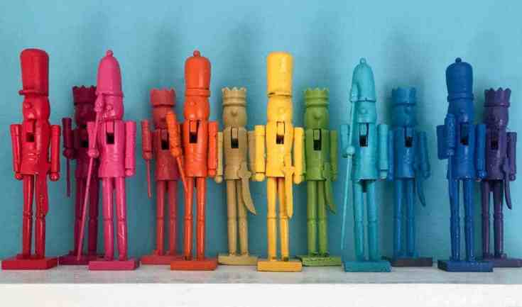 DIY Painted Rainbow Nutcrackers