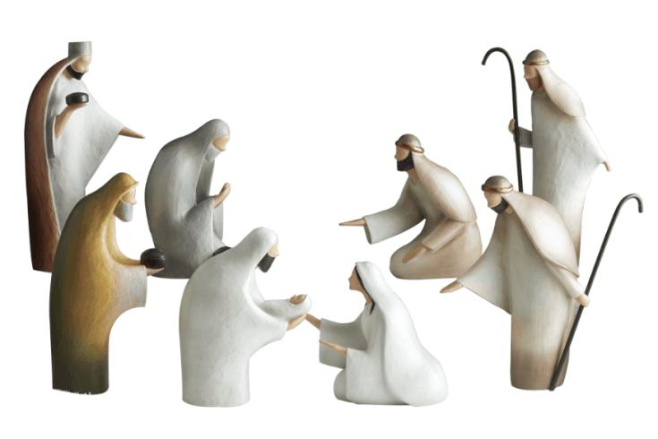 Neutral, modern Nativity Set - 8 pc