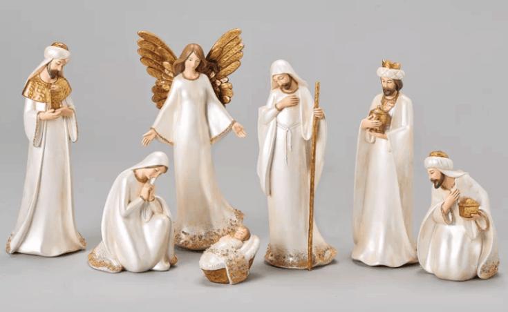Ivory and Gold Nativity Set - 7 pc