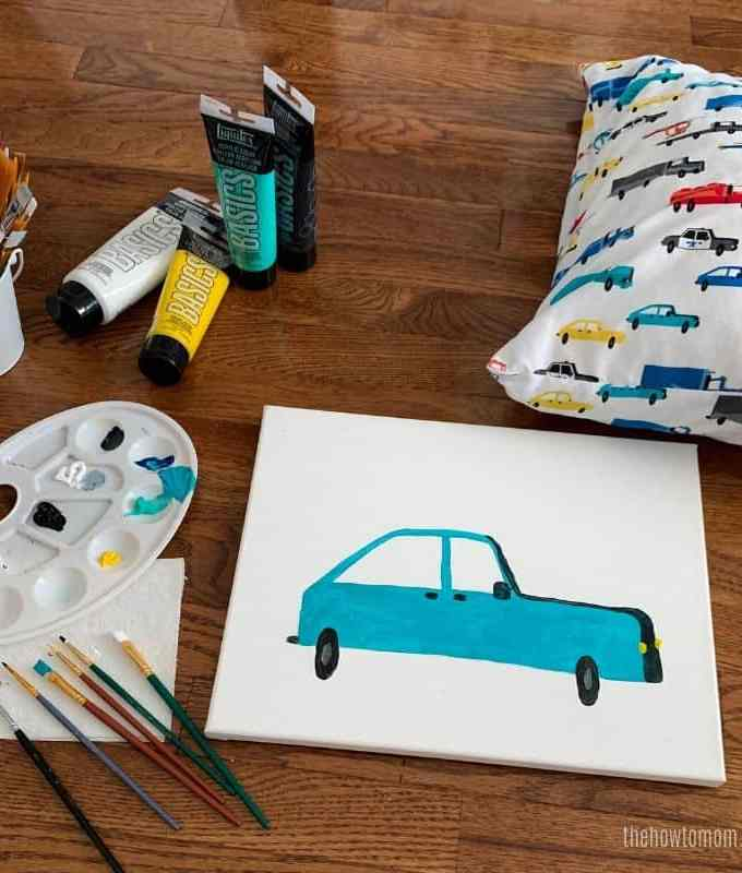 painting of a teal car