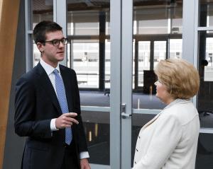 ALEXANDER BROWN/THE HOYA Hans Claessens (MSB '14) talks with MSB professor Lynn Doran. Claessens spent this summer at Goldman Sachs in New York City.
