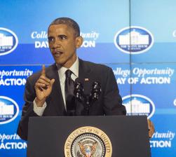 DANIEL SMITH / THE HOYA President Barack Obama spoke Thursday at the White House's College Opportunity Day of Action.