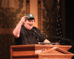 Web Leslie/ THE HOYA Documentarian Michael Moore addressed a full house in Gaston Hall Friday.