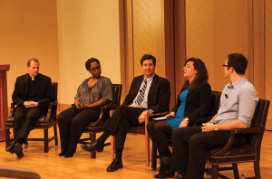 MICHELLE XU/THE HOYA From left to right: Fr. Michael Carnes, S.J., professor Marcia Chatelain, moderator and Vice President for Public Affairs Erik Smulson, Lauren Weber (COL '13) and Nate Tisa (SFS '14) in a campus-wide free speech forum.