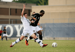 Chris Bien/The Hoya Freshman midfielder Tom Skelly battles for the ball in the Hoyas' 1-0 loss to Virginia Commonwealth. A goal by the Rams early in the overtime period sent Georgetown to defeat in its first game of the regular season.