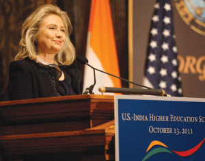 CHRIS BIEN/THE HOYA Secretary of State Hillary Clinton gave the opening remarks at the U.S.-India Higher Education Summit Thursday morning in a packed Gaston Hall.