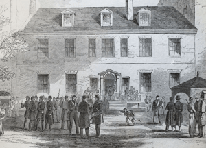 FROM BOOKS TO BATTLE The 69th Regiment of the New York State Militia, pictured above, was housed for a time at Georgetown, partially as punishment for anti-Union demonstrations that occurred on campus.