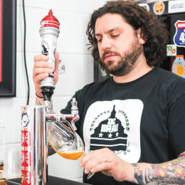 MAIREAD REILLY/THE HOYA HIGH BRAU CEO Brandon Skall takes pride in his brewery's local flavor. Every batch of beer the company sells is hand crafted at the factory in northwest D.C.