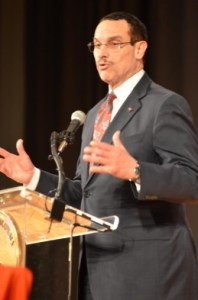 PORTER WATKINS/THE HOYA D.C. Mayor Vincent Gray addressed the state of the District's Finances Thursday.