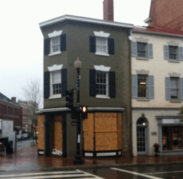 Papyrus on Wisconsin Avenue was one of several businesses to seal its doors and windows in anticipation of damage from Hurricane Sandy.