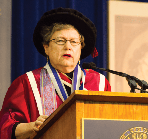 ALEXANDER BROWN/THE HOYA Carol Lancaster, pictured at commencement last May, is stepping down as dean of the School of Foreign Service to recover from a brain tumor.