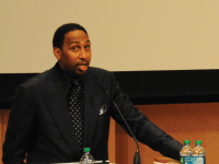 MATT DESILVA/THE HOYA ESPN's Stephen A. Smith delivered the Michael Jurist (SFS '07) Memorial Lecture in characteristic style in Lohrfink on Monday.