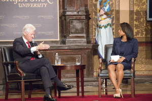 DANIEL SMITH/THE HOYA Diondra Hicks (COL '15) led a question-and-answer session with Clinton after the lecture.