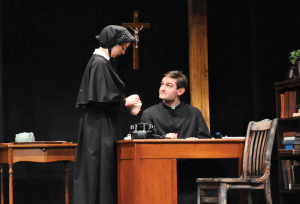 """OLIVIA HEWITT FOR THE HOYA Maddie Kelley (COL '16) and Addison  Williams (COL '14) pulled the audience into a sinister web of suspicion in """"Doubt: A Parable."""""""
