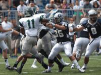 CLAIRE SOISSON/THE HOYA Senior linebacker Nick Alfieri