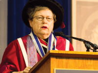 FILE PHOTO: ALEXANDER BROWN/THE HOYA Carol Lancaster (SFS '64) at SFS commencement exercises in 2013.