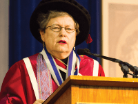 FILE PHOTO: ALEXANDER BROWN/THE HOYA SFS Dean Carol Lancaster (SFS '64) is remembered as integral to the SFS throughout the past half-century. Above: Lancaster speaking at commencement in 2013.