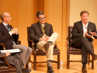 COURTESY GEORGETOWN UNIVERSITY UNC School of the Arts Chancellor Lindsay Bierman (CAS '87) (left), Harvard professor Mark Poirier (CAS '91) (center) and author Christopher Reich (SFS '83) spoke on their careers in media Tuesday.