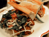 BRYAN YUEN/THE HOYA The Bahn Mi Sandwich is just one of many quirky combinations of French and Asian cuisine at the fusion restaurant Mama Rouge. It contains skirt steak layered with mixed vegetables and spices.