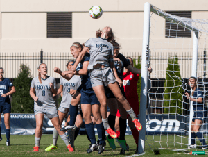 FILE PHOTO: JULIA HENNRIKUS/THE HOYA Junior defender Marina Paul scored against St. John's in  the 7th minute of the Big East semifinal game. She has two goals and three assists this season. She has started all 20 games.