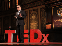 "NATASHA THOMSON/THE HOYA Former Malaysian Deputy Prime Minister Anwar Ibrahim spoke about his experiences with police brutality as part of the ""Trials"" session at the TEDxGeorgetown event in Gaston Hall on Saturday afternoon."
