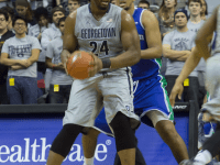 ISABEL BINAMIRA/THE HOYA Senior center Josh Smith led Georgetown with 20 points and 12 rebounds in Tuesday's win.